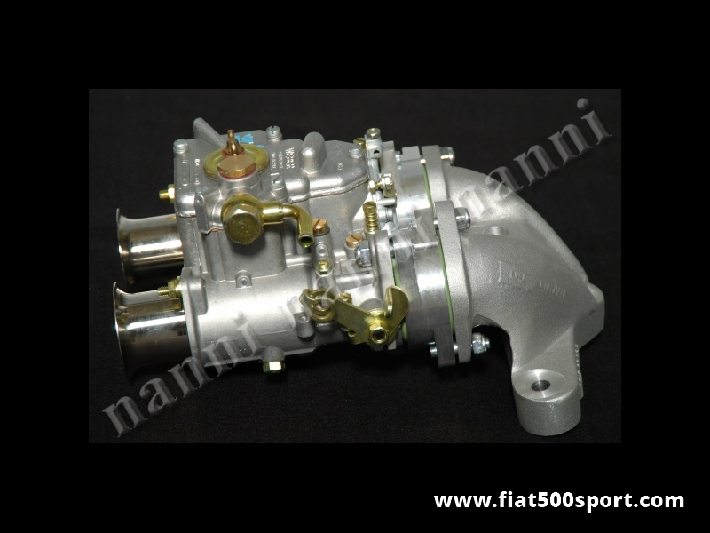 Art. 0175 - Fiat 500 Fiat 126 Carburettor twin-choke Ø 40 mm Weber new horizontal  with manifold and alloy admission pipe. - Fiat 500 Fiat 126 Carburettor twin-choke Ø 40 mm Weber new horizontal with manifold and alloy admission pipe for original head Fiat 500/126. Complete set.