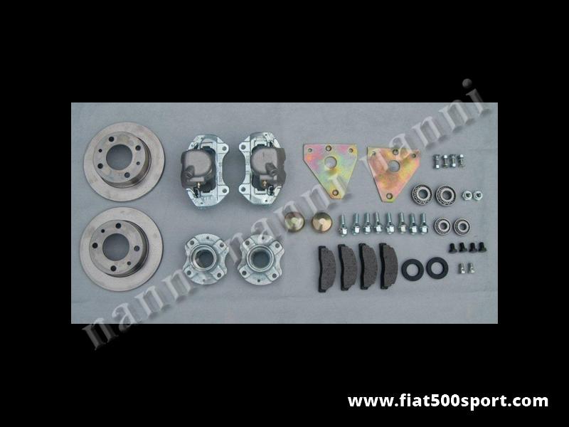 Art. 0179L - Freni Fiat 500 a disco anteriori per ruote da 12 o 13 pollici con interasse bulloni 98 mm. su Fiat 500. - Freni Fiat 500 a disco anteriori per applicare le ruote da 12 o 13 pollici con distanza fra i bulloni di 98 mm. sulla Fiat 500. Kit completo di tutto.