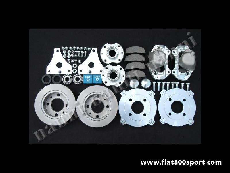 Art. 0180 - Freni Fiat 500 Fiat 126 prima serie a disco anteriori per ruote da 12 pollici in acciaio - Freni Fiat 500 Fiat 126 prima serie a disco anteriori per ruote da 12 pollici in acciaio con flangia.(interasse dei bulloni ruota 190 mm.)kit completo di tutto.