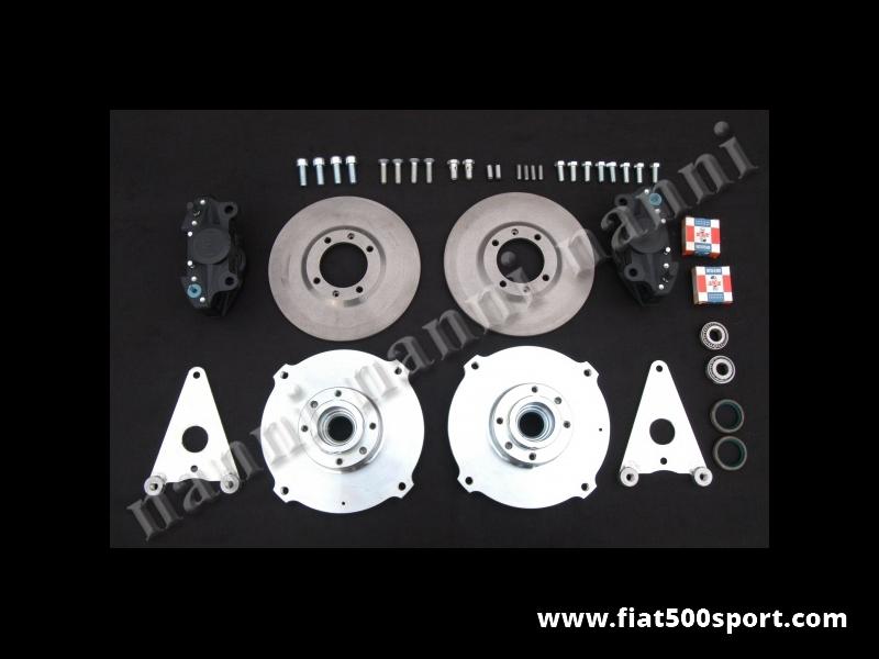 Art. 0182 - Freni Fiat 500 Fiat 126 prima serie a disco anteriori con pinze Brembo per ruote da 10-12 pollici. - Freni Fiat 500 Fiat 126 prima serie a disco anteriori con pinze Brembo a doppio pistoncino per ruote da 10-12 pollici (interasse dei bulloni ruota 190 mm.) Questo kit non allarga la carreggiata anteriore. Kit completo.