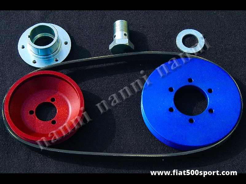 Art. 0206 - Pulegge Fiat 500 Fiat 126 NANNI e cinghia poli v per dinamo.(Le pulegge hanno le stesse dimensioni delle pulegge originali). - Pulegge Fiat 500 Fiat 126 NANNI e cinghia poli v per dinamo.(Le pulegge hanno le stesse dimensioni delle pulegge originali). Kit completo.