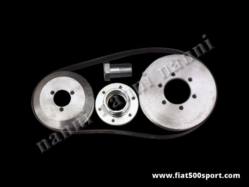 Art. 0206 - Pulegge Fiat 500 Fiat 126 NANNI e cinghia poli v per dinamo.(Le pulegge in ergal hanno le stesse dimensioni delle puleggie originali). - Pulegge Fiat 500 Fiat 126  NANNI e cinghia poli v per dinamo.(Le puleggie in ergal hanno le stesse dimensioni delle puleggie originali). Kit completo.