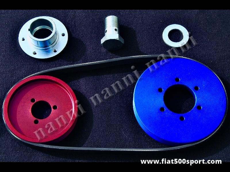Art. 0207 - Pulegge Fiat 500 Fiat 126 NANNI e cinghia poli v  per alternatore. (le pulegge hanno le stesse dimensioni delle pulegge originali). - Pulegge Fiat 500 Fiat 126 NANNI e cinghia poli v per alternatore. (le pulegge hanno le stesse dimensioni delle pulegge originali). Kit completo.