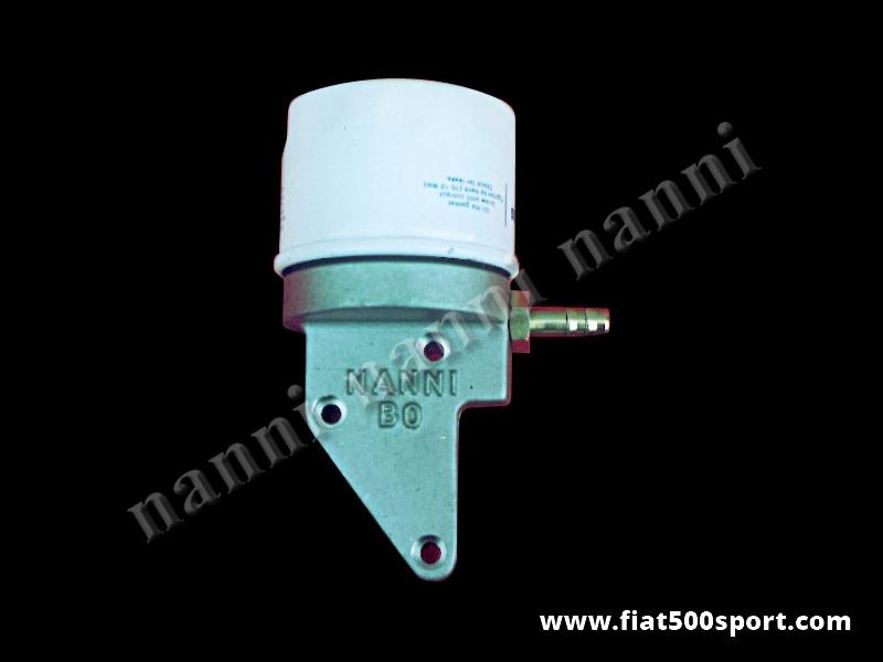Art. 0210 - Supporto Fiat 500 Fiat 126 NANNI con filtro olio sul carter distribuzione.. - Supporto Fiat 500 Fiat 126 NANNI in alluminio con filtro olio per applicazione sul carter distribuzione completo di raccordi in acciaio.