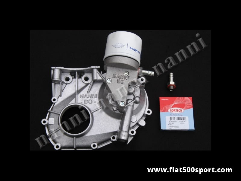 Art. 0212 - NANNI modified timing case cover Fiat 500/126 with support and oil filter. - NANNI modified timing case cover Fiat 500/126 with support and oil filter.
