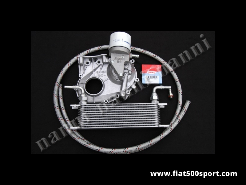 Art. 0214 - Fiat 500 Fiat 126  oil filter and cooler (complete kit) NANNI. - Fiat 500 Fiat 126 oil filter and cooler (complete kit) NANNI .For the oil cooler sizes see art. 0217.