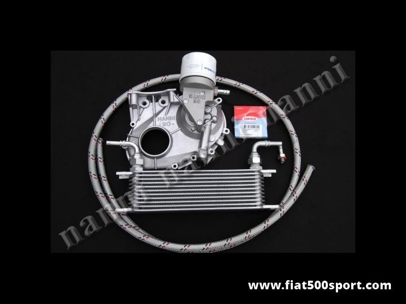 Art. 0214 - Raffreddamento motore Fiat 500 Fiat 126 con carter distribuzione nuovo NANNI nuovo con filtro olio (per uso stradale) e radiatore. - Raffreddamento del motore Fiat 500 Fiat 126. E'composto dal carter della distribuzione NANNI nuovo modificato, radiatore in alluminio, filtro olio (per uso stradale), paraolio, guarnizione, raccordi e tubazioni. Per le misure del radiatore vedi art. 0217.