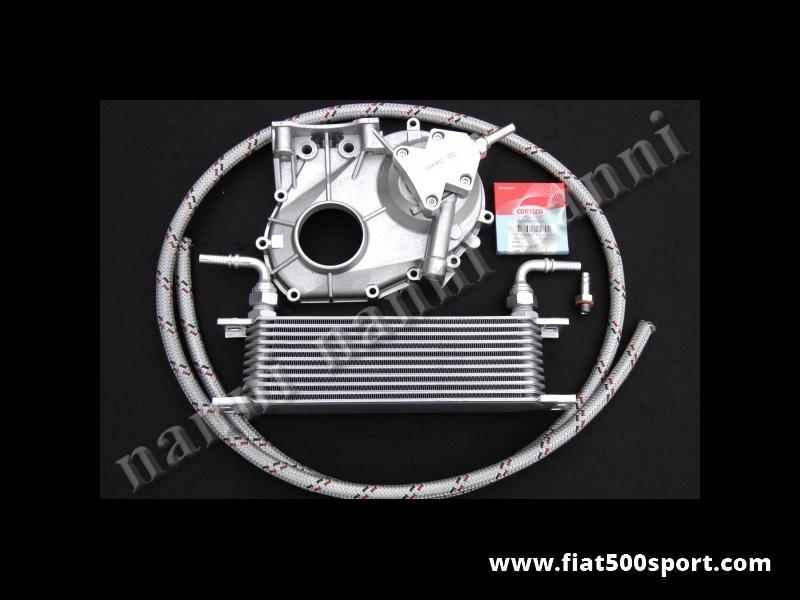 Art. 0215 - Raffreddamento motore Fiat 500 Fiat 126 con carter distribuzione nuovo NANNI  per applicazione del radiatore dell'olio (per competizione) - Raffreddamento del motore Fiat 500 Fiat 126 con carter distribuzione nuovo NANNI completo di applicazione del radiatore dell'olio (per competizione). Comprende il carter nuovo modificato con supporto, radiatore, guarnizione, paraolio, raccordi e tubazioni. Per le misure del radiatore vedi l'art. 0217.