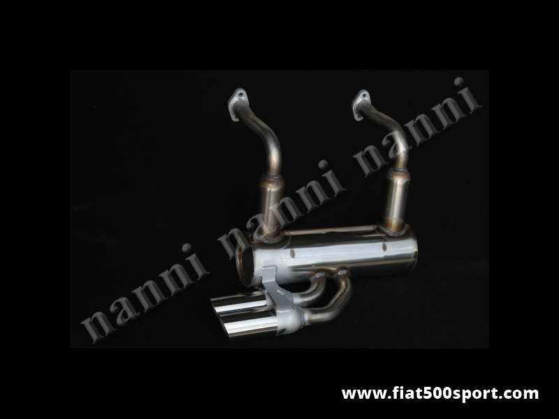 Art. 0229 - 500 F/L Abarth style stainless steel muffler with two chromed tail pipes Ø 60 mm - 500 F/L Abarth style stainless steel muffler with two chromed tail pipes Ø 60 mm