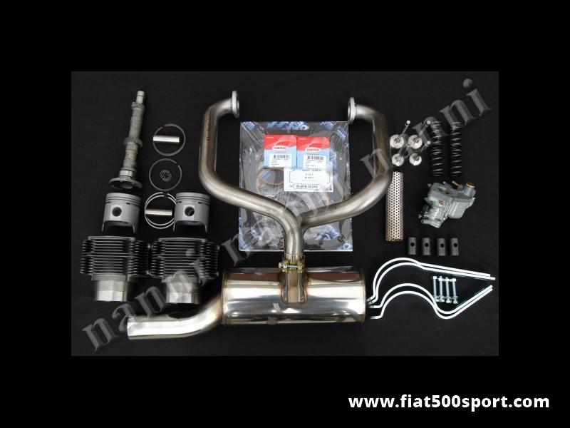 Art. 0250 - Fiat 500 F L kit NANNI  per elaborazione motore ad uso stradale (595 CC 40 HP). - Fiat 500 F L kit completo NANNI per elaborazione motore ad uso stradale(595 CC 40 HP). Il kit comprende: canne e pistoni,valvole,molle valvole,albero a cammes,bicchierini punterie,caburatore, tubo carburatore,marmitta speciale ad alto rendimento totalmente in acciaio inossidabile, staffe supporto marmitta, serie guarnizioni motore con  i 2 parolio Corteco dell'albero motore. Con i cilindri di nostra produzione non occorre la guarnizione di testa. I pistoni sono fatti in Germania.