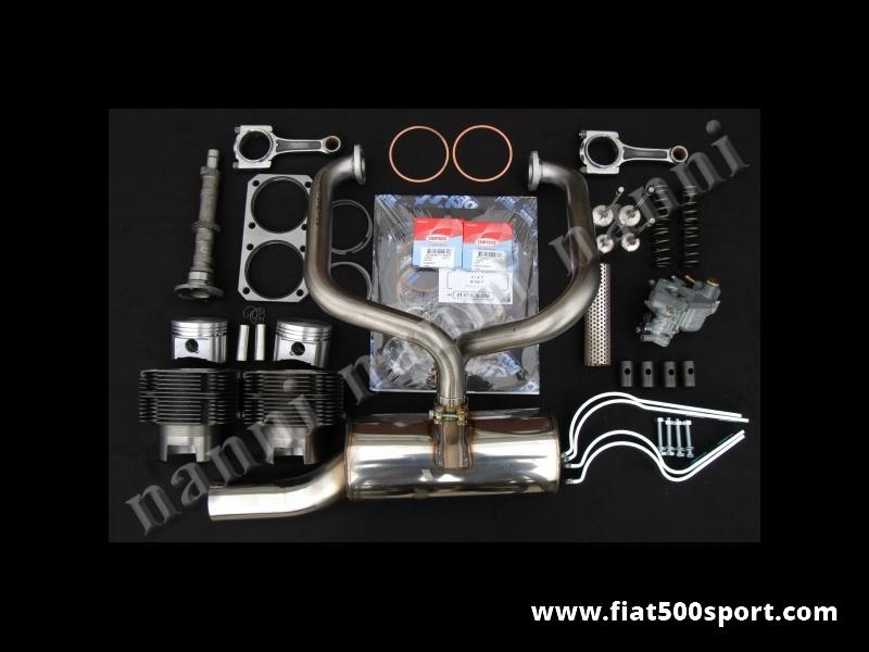 Art. 0252 - Fiat 500 F L kit NANNI per elaborazione motore ad uso stradale(700 CC 40 HP) - Fiat 500 F L kit completo NANNI per elaborazione motore ad uso stradale (700 CC 40 HP). Il kit comprende: canne e pistoni,valvole,molle valvole,albero a cammes,bicchierini punterie,bielle in acciaio,carburatore con tubo forato,piastra rinforzo monoblocco,marmitta ad alto rendimento tutta in acciaio inossidabile,serie staffe supporto marmitta, guarnizioni motore con 2 paraolio,guarnizione testa e anelli sottocanna in rame. I cilindri sono di nostra produzione e i pistoni sono Federal Mogul.