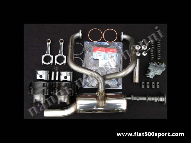 Art. 0253 - Fiat 500 R Fiat 126 kit NANNI per elaborazione motore ad uso stradale (700 CC 40 HP) - Fiat 500 R Fiat 126 kit completo NANNI per elaborazione motore ad uso stradale (700 CC 40 HP). Il kit comprende: canne e pistoni,valvole,molle valvole,albero a cammes,bicchierini punterie,bielle in acciaio,carburatore con tubo forato,marmitta ad alto rendimento tutta in acciaio inossidabile,serie guarnizioni motore con 2 paraolio,guarnizione testa e anelli sottocanna in rame.  I cilindri sono di nostra produzione e i pistoni sono Federal Mogul U.S.A.