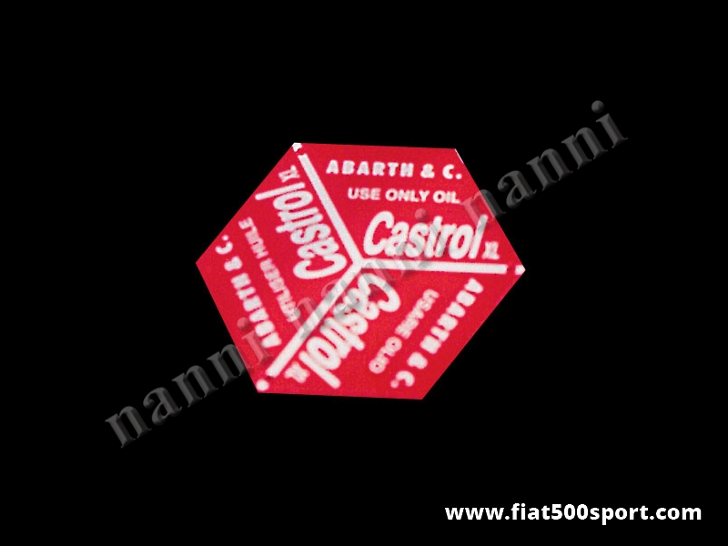 Art. 0268 - Abarth plate for valve cover cap Fiat 500 D. - Abarth plate for valve cover cap Fiat 500 D.