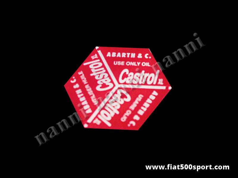 Art. 0268 - Targhetta Abarth per tappo introduzione olio Fiat 500 D. - Targhetta Abarth per tappo introduzione olio Fiat 500 D.