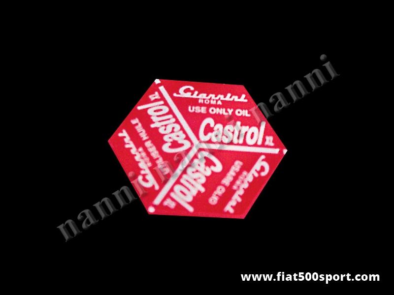 Art. 0269 - Targhetta Giannini per tappo introduzione olio Fiat 500 D - Targhetta Giannini per tappo introduzione olio Fiat 500 D.