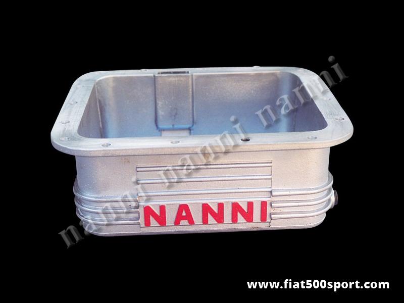 Art. 0271 - Coppa olio Fiat 500 Fiat 126 NANNI  in alluminio da 3,5 litri - Coppa olio Fiat 500 Fiat 126 NANNI in alluminio da 3,5 litri. E' predisposta per il montaggio del bulbo temperatura olio. Le nostre coppe olio sono tutte impregnate con Loctite per garantire una impermeabilità al 100%.