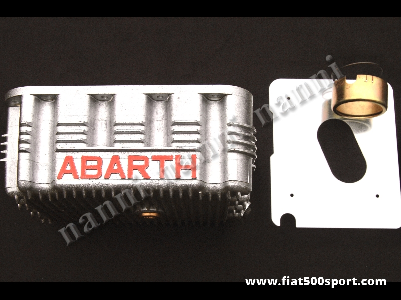 Art. 0275A - Sump Fiat 500 Fiat 126 Abarth 4 liters with no shaking oil steel sheet and extension oil sucker. - Sump Fiat 500 Fiat 126 Abarth 4 liters with no shaking oil steel sheet and extension oil sucker.