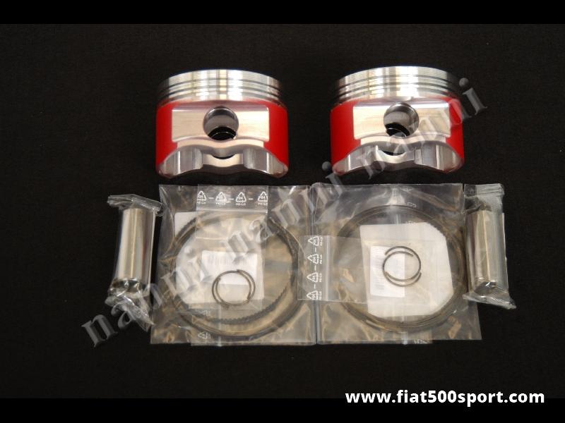 Art. 0297 - Pistoni Fiat 500 Fiat 126 stampati 650 cc, Ø 77 mm. (2 pistoni) - Pistoni completi Fiat 500 Fiat 126 stampati Wossner 650 cc.Ø 77 mm disponibili con altezza di compressione 28 mm. 38 mm. e 40 mm.