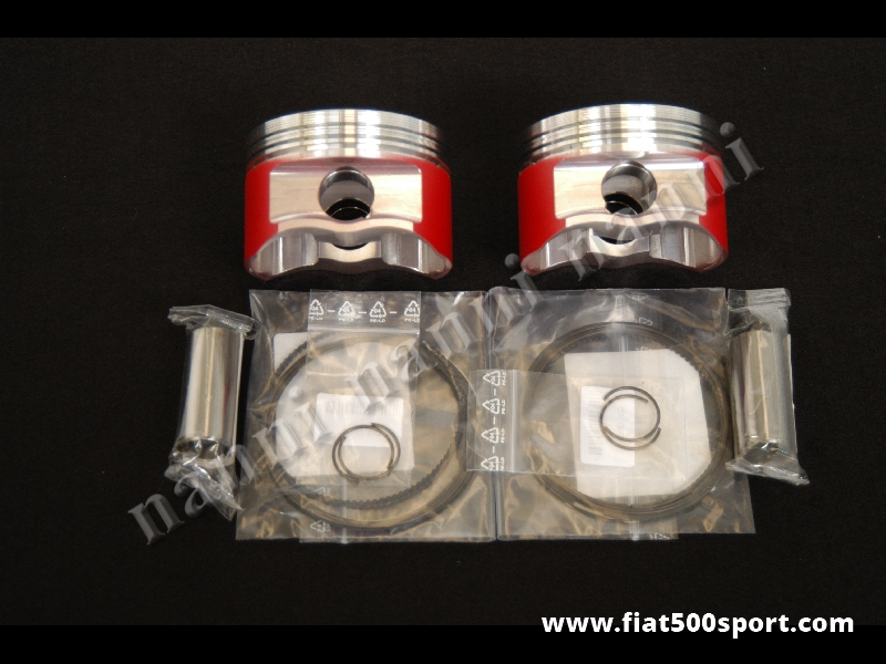 Art. 0297 - Pistons forged Fiat 500 Fiat 126 650 cc. Ø 77 mm std. Compression height 38 and 40 mm. - Forged pistons 650 cc. Ø 77 mm std. Compression height 38 and 40 mm. (Complete set).