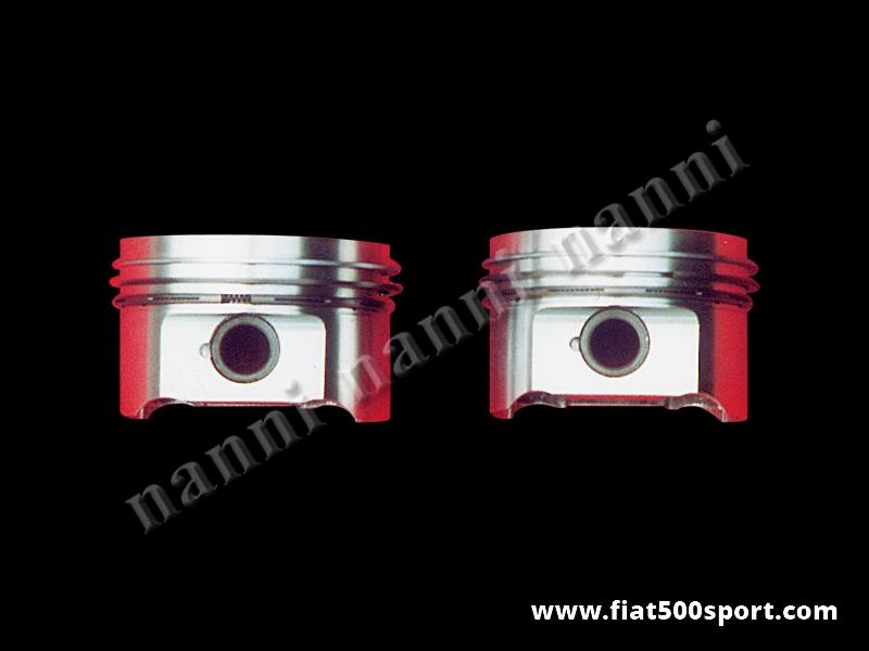 Art. 0298 - Pistoni  Fiat 500 Fiat 126 stampati  695 cc, Ø 79,5 mm disponibili con altezza di compressione 28 mm. - Pistoni Fiat 500 Fiat 126 stampati Asso 695 cc. Ø 79,5 mm disponibili con altezza di compressione 28 mm. Serie completa di 2 pezzi. Questi pistoni richiedono bielle con interasse di 130 mm.
