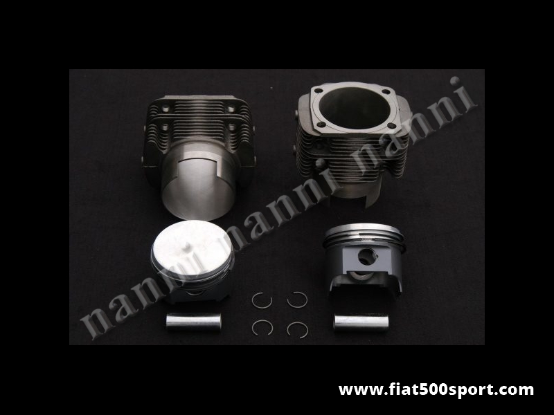 Art. 0321A - Piston liner kit forged Fiat 500R 595 cc. diam. 73,5 mm.(NANNI cylinders). - Forged piston liner kit Fiat 500R 595 cc. diam. 73,5 mm. NANNI cylinders don't require the head gasket, but need our copper rings art. 0427. The forged piston are disposable with compression height 40 mm. or 28 mm.