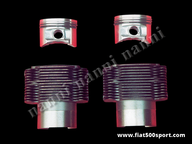 Art. 0326 - Piston-liner kit Fiat 500 Fiat 126 Fiat Giardiniera 704 cc, Ø 80 mm. for up-grading the engine. (NANNI cylinders). - Piston-liner kit 704 cc, Ø 80 mm for up-grading Fiat 500 Fiat 126 Fiat Giardiniera engine. (NANNI cylinders). With this article you need to buy the con rods art.0293C . Engine Fiat 500 and Giardiniera require the steel plate art. 0287.