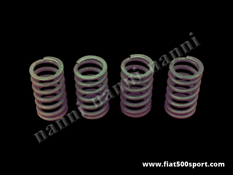 Art. 0370 - Molle valvole Fiat 500 Fiat 126 Fiat Panda 30 NANNI  rinforzate (4 pezzi). - Molle valvole Fiat 500 Fiat 126 Fiat Panda 30 rinforzate NANNI (4 pezzi) per motori che girano fino a 11000 giri al minuto. Questa serie di molle in 4 pezzi sostituisce perfettamente la serie di 8 pezzi.Infatti non occorrono le 4 molle interne.