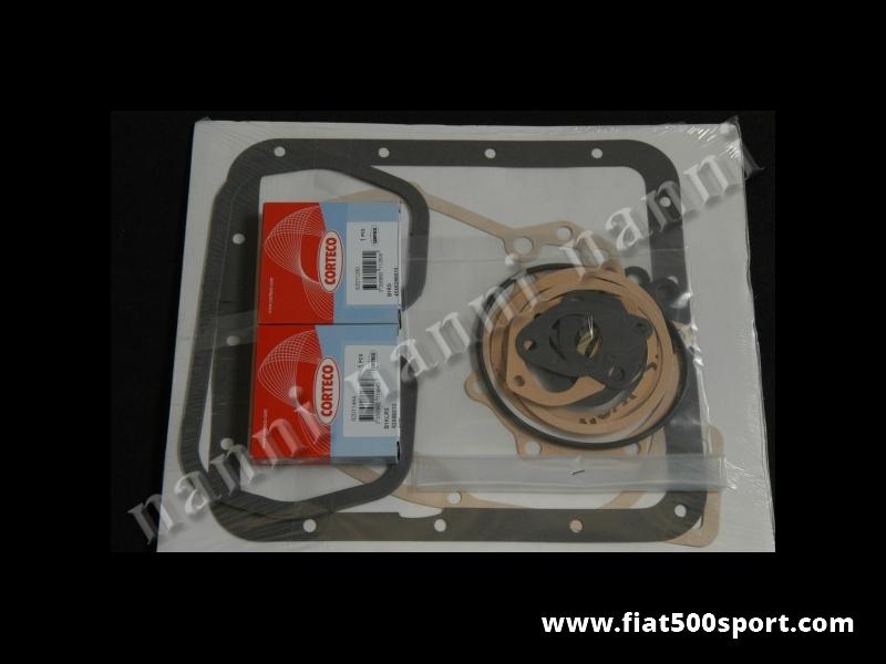 Art. 0439 - Gaskets engine Fiat 500 Giardiniera set with oil seals. - Gaskets engine kit Fiat 500 Giardiniera with oil seals.