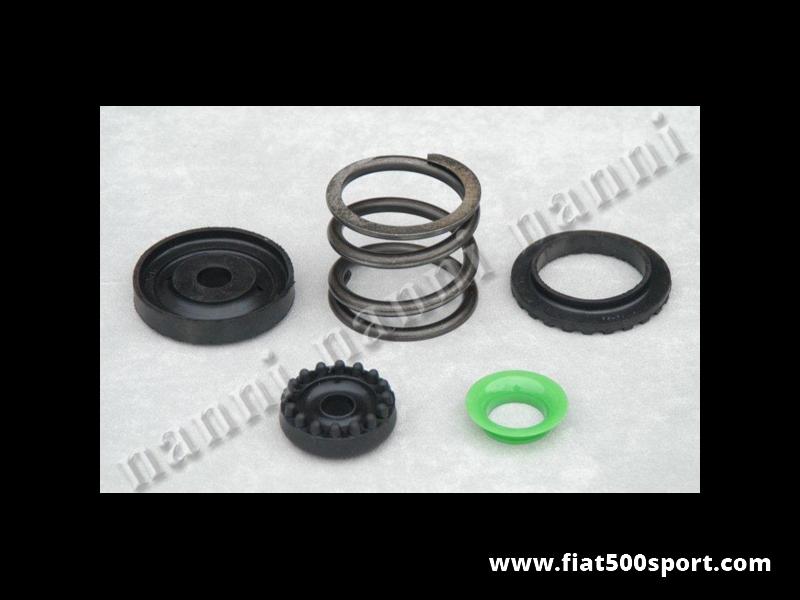 Art. 0452K - Fiat 500 R Fiat 126 kit tasselli sostegno motore con molla rinforzata NANNI. - Fiat 500 Fiat 126 kit tasselli in gomma e molla sostegno motore rinforzata NANNI.