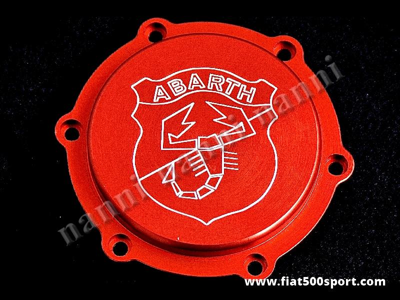 Art. 0453 - Coperchio filtro olio centrifugo Fiat 500 Fiat 126 Abarth - Coperchio con filtro olio centrifugo Fiat 500 Fiat 126 Abarth con anello di tenuta. E' di colore rosso satinato. Lo stemma Abarth è inciso.