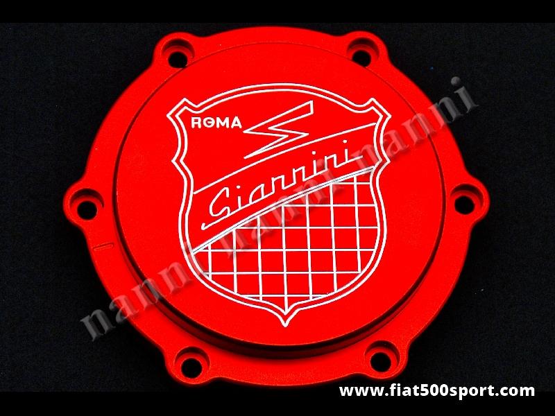 Art. 0454 - Coperchio filtro olio centrifugo Fiat 500 Fiat 126 Giannini - Coperchio con filtro olio centrifugo Fiat 500 Fiat 126 Giannini con anello di tenuta. È di colore rosso satinato. Lo stemma Giannini è inciso.