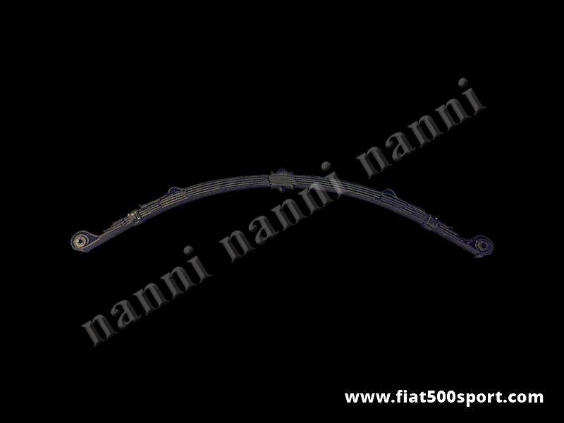 Art. 0460 - Balestra  Fiat 500 Fiat 126, 5 fogli nuova con occhielli rovesciati (abbassa la vettura di 3 cm.). Prodotta in Italia. - Balestra Fiat 500 Fiat 126, 5 fogli nuova con occhielli rovesciati (abbassa la vettura di 3 cm.).La balestra e' prodotta totalmente in Italia. Consigliamo di acquistare anche le staffe ns. articolo 0488 (per 500 F/L) oppure l'art. 0488 B (per la 500 R e il Fiat 126) per riportare la campanatura delle ruote ai valori originali.