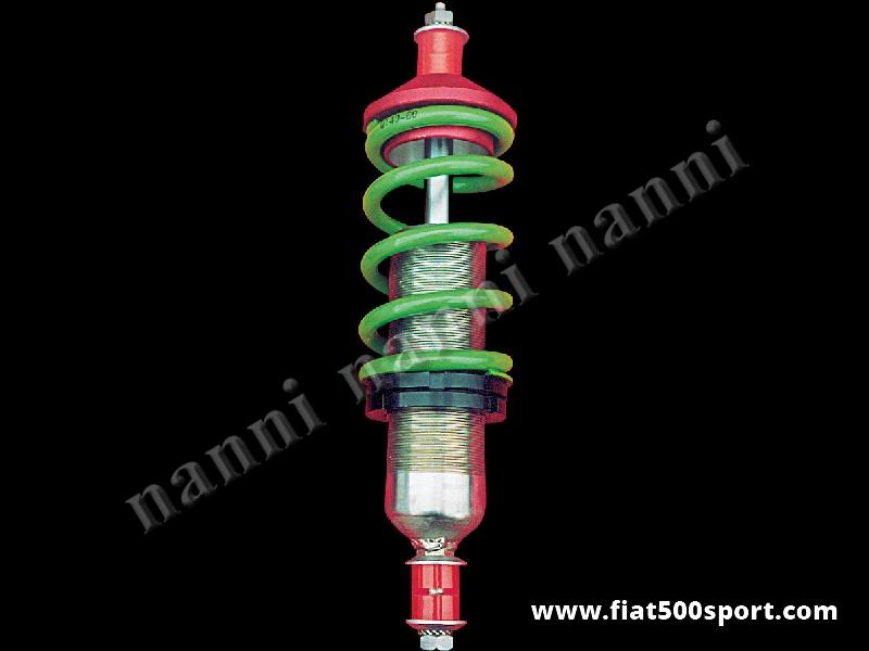 Art. 0473 - Ammortizzatore Fiat 500 Fiat 126 NANNI nuovo, anteriore, a gas, a doppio effetto, regolabile nella durezza e regolabile in altezza (per tirante 0474) - Ammortizzatore Fiat 500 Fiat 126 NANNI nuovo anteriore a gas a doppio effetto, regolabile in taratura e regolabile in altezza.(per tirante 0474 occorrono 2 ammortizzatori). Posizionato in morsa e ruotato in senso orario si puo' indurire a piacimento. Per una vettura occorrono 2 pezzi.