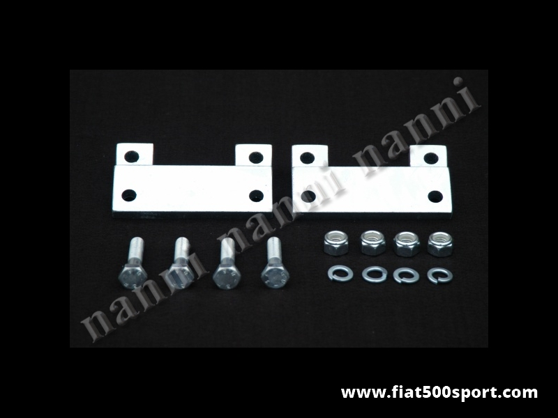 Art. 0488B - Fiat 500 R second series and Fiat 126 complete brackets kit to raise the upper trapeze of the front suspension. - Fiat 500R second series and Fiat 126 complete brackets kit to raise the upper trapeze of the front suspension ( for the articles 0460-0461-0479). Distance between the holes of the trapeze 107 mm.