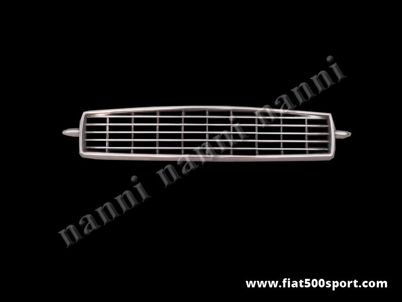"Art. 0499 - Mascherina Fiat 500 ""My Car"" Francis Lombardi in alluminio cromato. - Mascherina Fiat 500 ""My Car"" di Francis Lombardi in alluminio cromato."