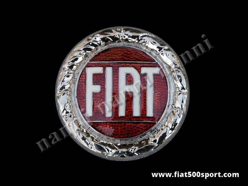 "Art. 0499A - Fiat 500 Francis Lombardi ""My Car""front emblem Ø 55 mm - Fiat 500 Francis Lombardi ""My Car"" Fiat front emblem Ø 55 mm."