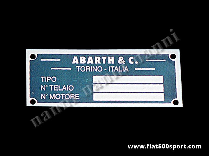 Art. 0526 - Targhetta Abarth per vano motore. - Targhetta in alluminio Abarth per vano motore