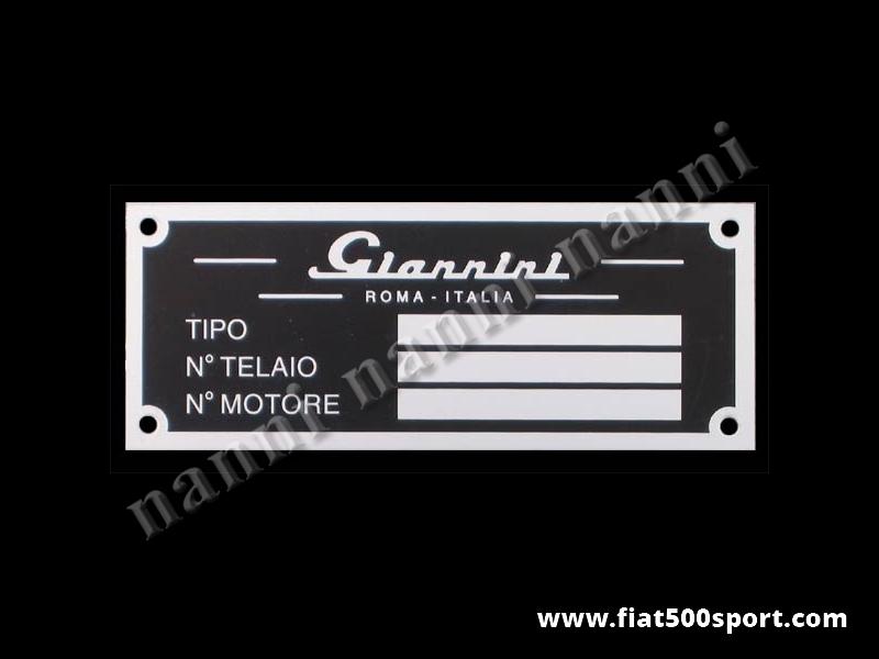Art. 0541 - Targhetta Giannini in alluminio per vano motore. - Targhetta in alluminio Giannini per vano motore