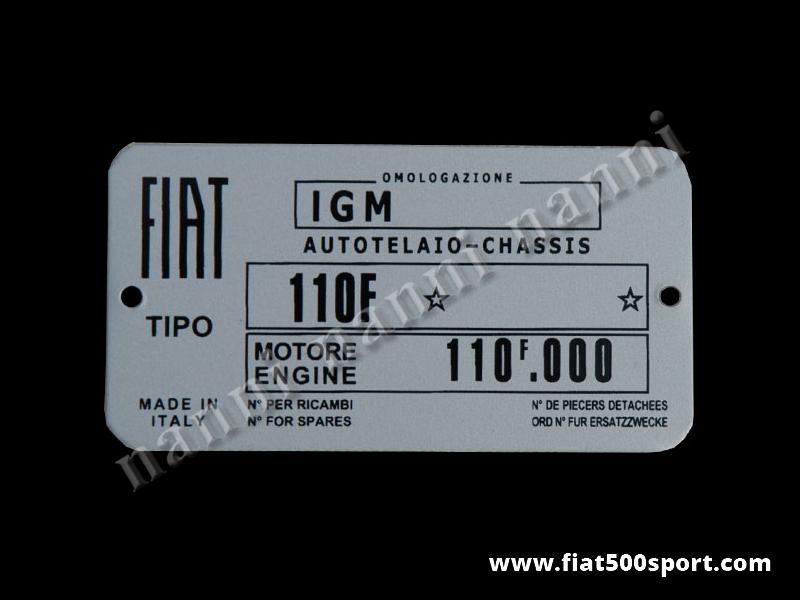 Art. 0543 - Targhetta dati identificativi Fiat 500F/L - Targhetta dati identificativi Fiat 500F/L