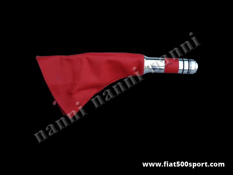Art. 0546 - Cuffia Fiat 500 Fiat 126 leva freno a mano in vera pelle rossa. - Cuffia Fiat 500 Fiat 126 per leva freno a mano in vera pelle rossa. Kit completo.