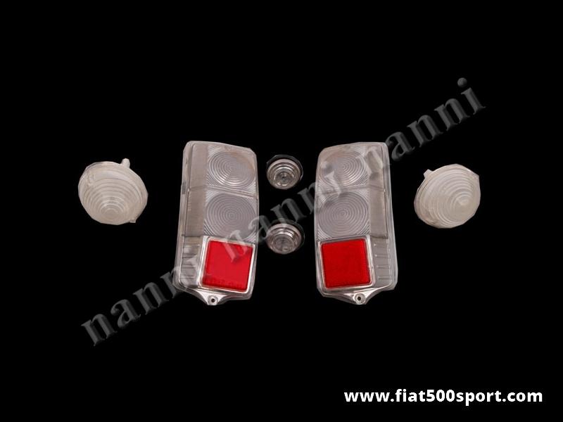 Art. 0547 - Plastiche luci Fiat 500 F L R trasparenti. - Plastiche luci Fiat 500 F L R trasparenti. Comprende: 2 fanalini anteriori e 2 fanalini laterali completi. 2 plastiche per luci posteriori.