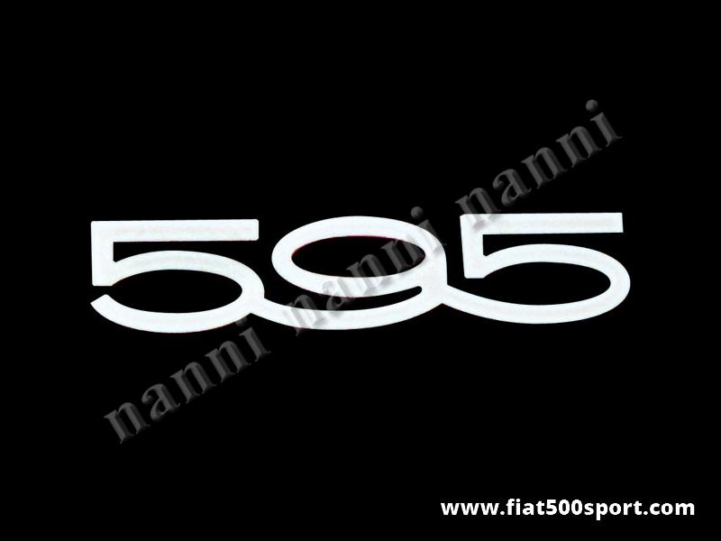 "Art. 0552 - Scritta Abarth ""595"" cromata grande lunga 140 mm per cofano posteriore. - Scritta cromata ""595"" grande lunga 140 mm per cofano posteriore."