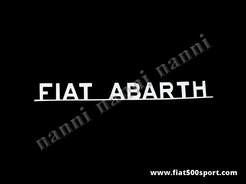 """Art. 0558 - Scritta cromata  Abarth 595/ 695 """"Fiat Abarth""""con barretta lunghezza 210 mm. - Scritta cromata """"Fiat Abarth"""" con barretta L. 210 mm per cofano motore."""