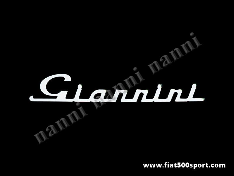 """Art. 0570 - Scritta cromata """"Giannini"""" grande per cofano motore. - Scritta """"Giannini"""" grande per cofano motore. E' lunga 175 millimetri."""