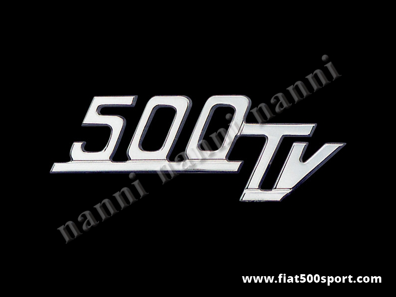 """Art. 0571 - Scritta cromata Giannini  """"500 TV"""" per cofano motore. - Scritta cromata """"500 TV"""" per cofano motore Giannini. Lunghezza 88 mm."""