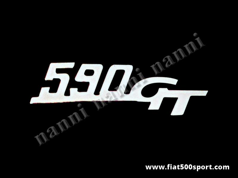 """Art. 0572 - Scritta cromata Giannini  """"590 GT"""" per cofano motore - Scritta cromata """"590 GT"""" per cofano motore Giannini. Lunghezza 109 mm."""