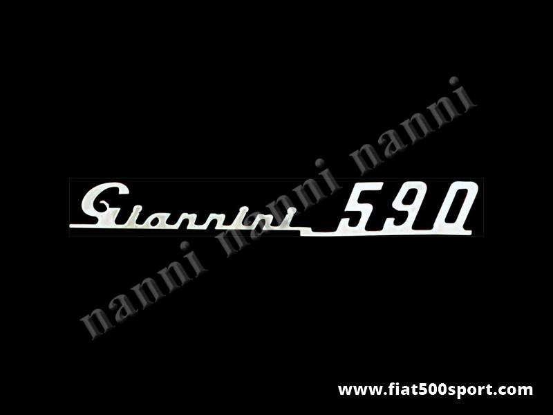 """Art. 0573 - Scritta cromata """"Giannini 590"""" per cruscotto. - Scritta cromata """"Giannini 590"""" per cruscotto. Lunghezza 140 mm."""