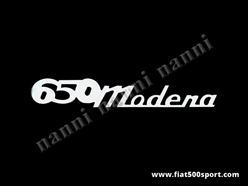 """Art. 0575 - Scritta cromata Giannini """"650 Modena"""" per cofano motore. - Scritta cromata """"650 Modena"""" per cofano motore Giannini. E' lunga 205 mm."""