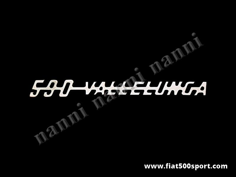 """Art. 0576 - Scritta cromata Giannini """"590 Vallelunga"""" per cofano motore. - Scritta cromata """"590 Vallelunga"""" per cofano motore Giannini. Lunghezza 194 mm."""