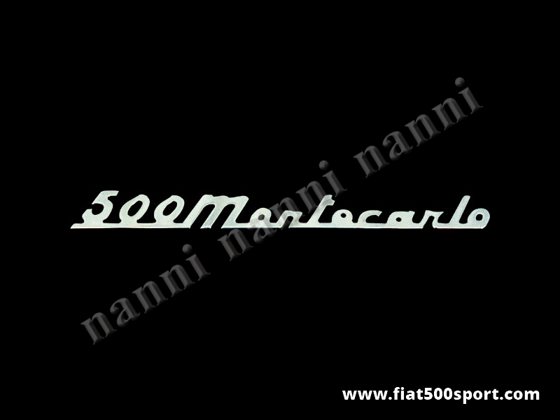 "Art. 0577 - Scritta cromata Giannini ""500 Montecarlo"" per cofano motore. - Scritta cromata ""500 Montecarlo"" per cofano motore Giannini. Lunghezza 190 mm."